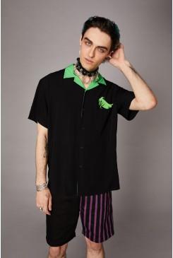 Contrast Collar Ghost SS Shirt