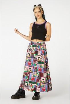 Comic Viscose Midi Skirt