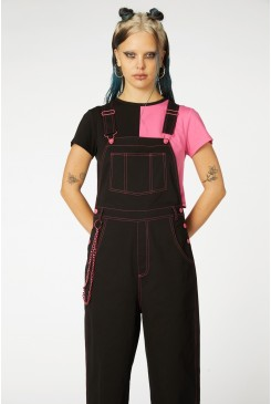 Contrast Stitch Goth Overall