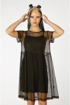 Metallic Mesh Goth Dress