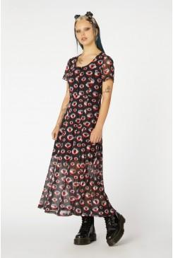 Printed Sheer Mesh Dress