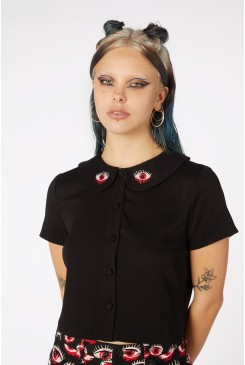 Embroider Punk Collar Shirt