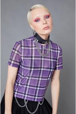 Purple Punk Tartan Mesh Top