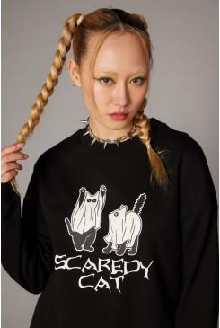 Ghost Cat Grunge Sweater
