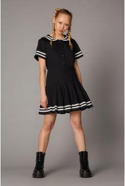 Goth Trim Pleated Skirt